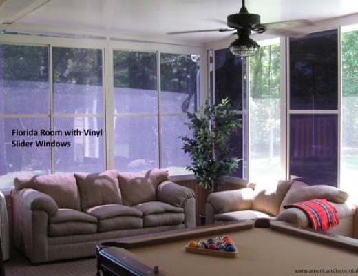 Florida room with vinyl slider windows