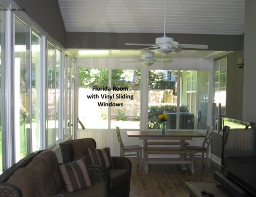 Florida room with vinyl sliding windows