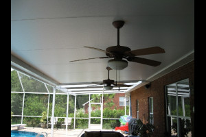 Composite panel roof with ceiling fans