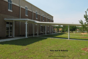 Commercial patio roof and covered walkway