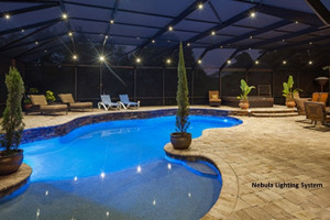 Screen pool enclosure at night with Nebula lighting