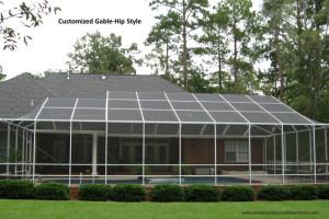 Multi dimensional gable hip style screen pool enclosure