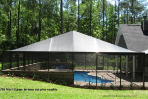 Screen pool enclosure with 2020 mesh screen on top