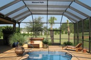 Mansard style pool enclosure