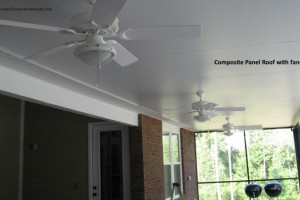 Screen enclosure with composite panel roof with ceiling fans
