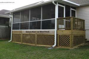 Screen room on wood deck