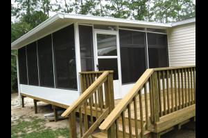 Screen room on new wood deck