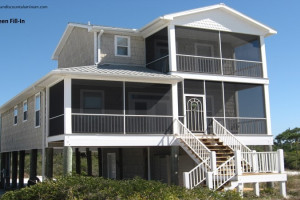 Two story screen rooms on beach home