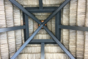 Inside view of top of tiki hut