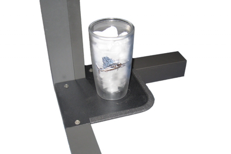 Corner shelf with a cup of ice