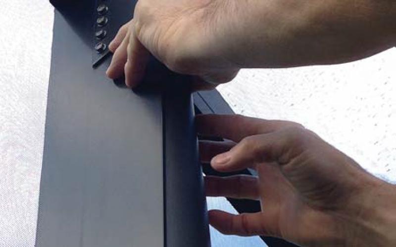 Applying Zipstrips to door